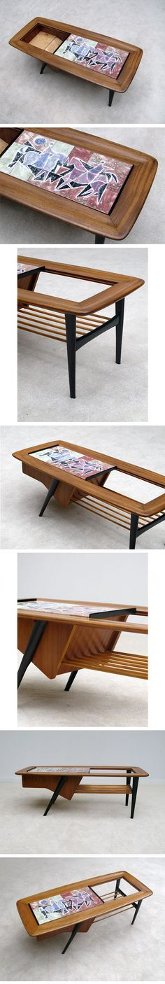 1950s, Alfred, Hendrickx, coffee, table, ceramic, tiles, Belgium #googie