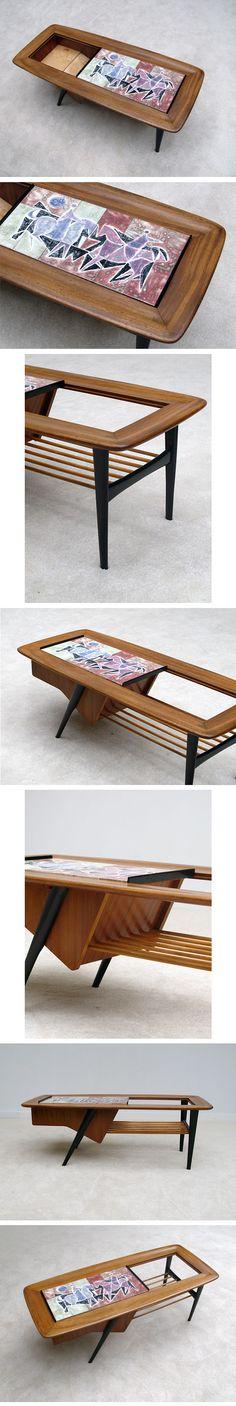 1950s, Alfred, Hendrickx, coffee, table, ceramic, tiles, Belgium