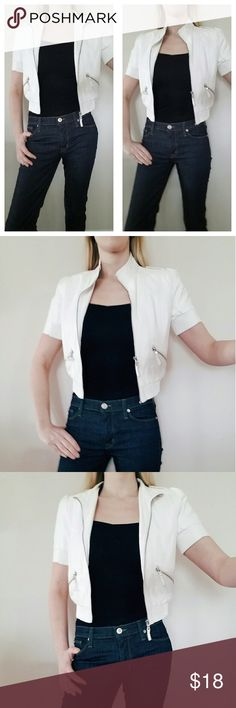 *Arden B* White Faix Leather Cropped Bomber Jacket Arden B white faux leather cropped bomber jacket with short sleeves. Good used condition. Great to grab on the run. Perfect fit, accentuates curves! Women's size XS. Arden B Jackets & Coats