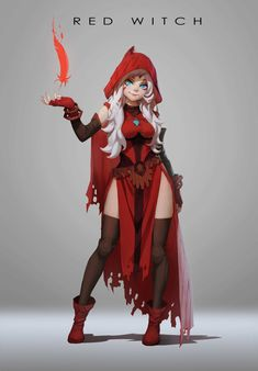 Artstation - red witch design, rui li design inspiration - c Fantasy Character Design, Character Creation, Character Inspiration, Character Art, Female Character Concept, Witch Characters, Fantasy Characters, Female Characters, Manga Characters