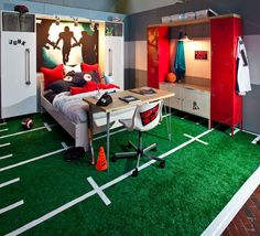 boys room for @Elena Downey. Check out the lockers and flooring! :) Find some used astro turf and some white duct tape. Could DIY the floor.
