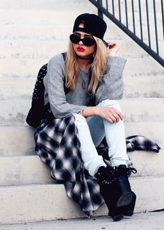 Plaid Flannel Maxi Gwen Skirt, Knit Cropped Top, Grunge Skinnies Pants & Hellbounds UNIF Heels Boots