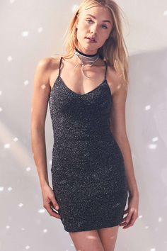 33d2055c15042 Silence + Noise Bandeau Back Bodycon Shimmer Dress Urban Outfitters Dress