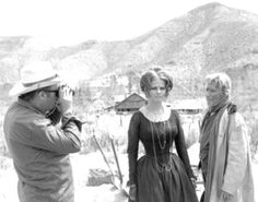 Sergio Leone and Claudia Cardinale on the set of Once Upon a Time in the West