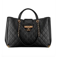 Chanel Around The Corner Calfskin Large Tote Shopping Bag ($2,500) ❤ liked on Polyvore featuring bags, handbags, tote bags, shopper tote handbags, calf leather handbags, tote purses, tote handbags and handbags totes