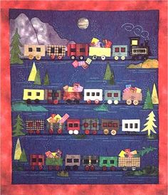 Christmas Express train Advent calendar wall by ZimmergirlzBazaar Quilt Baby, Quilting Projects, Quilting Designs, Quilting Ideas, Christmas Express, Applique Quilt Patterns, Placemat Patterns, Patchwork Quilting, Machine Quilting