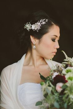 Mariya Wedding Hair Vine with Rhinestones and Keishi Pearl Flowers by One World Designs Bridal Jewelry