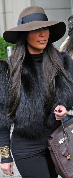 black fur. kim k