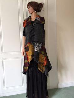 Waistcoat by Sarah Santos Lagenlook Boiled Wool Mix Asymmetrical, Lagenlook