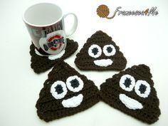 Crochet Poop Emoji Coaster Pattern by Francesca4me on Etsy
