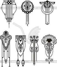 Art nouveau patterns - vector clip art