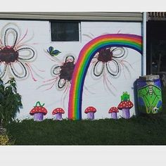 Thank you Carrie for using Chroma Mural Paint! @butterflyturner posted on Instagram: Painted a rainbow and some toadstools on the side of the house today. Andy never learns not to leave me here alone. Thanks for the outdoor mural paint, Dave! @daveewoldsen