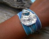 Steampunk Jewelry, Steampunk Clock Bracelet, Inspirational Quote Jewelry, Pocket Watch Clock Parts Bracelet, Time Flies Silk Wrap Bracelet. $49.95, via Etsy.