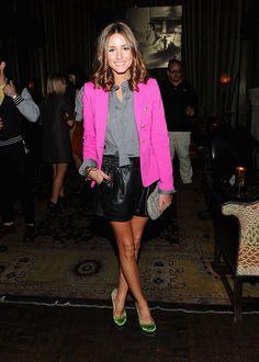 Olivia Palmero - Blazer w/ Gray Blouse - Black Leather Shorts - Green Heels - Girly Edge