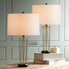 Buy Nathan Modern Table Lamps Set of 2 with Hotel Style USB Charging Port Gold Metal Drum Shade for Living Room Family Bedroom Bedside - 360 Lighting Table Lamp Wood, Gold Table, Table Lamp Sets, A Table, Living Room Decor Set, Dining Room, Usb Lamp, Contemporary Table Lamps, Modern Table