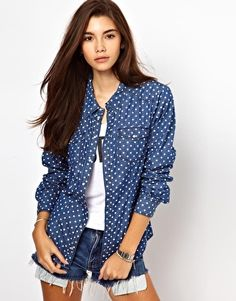 Polka Dot Denim Shirt