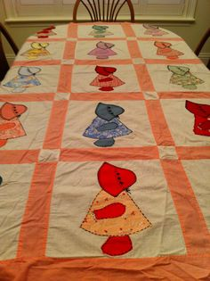 Vintage Quilt Top  SunBonnet Sue Dutch Doll   My momma made me a dutch doll quilt for my 16th birthday.  The dolls are different colors with blue trim.
