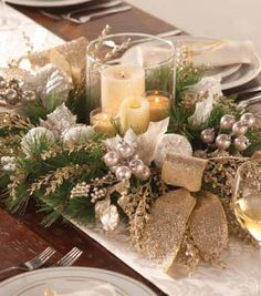 A candle holder made with pine and glittery floral accents makes a pretty table arrangement! Christmas Arrangements, Christmas Gift Decorations, Christmas Tablescapes, Table Arrangements, Holiday Decor, Elegant Centerpieces, Holiday Centerpieces, Table Centerpieces, All Things Christmas
