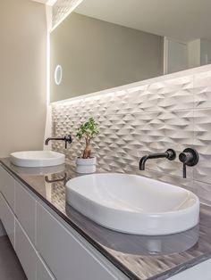 Beautiful master bath ideas that will make your bathroom look modern & luxurious! Oval white vessel sink Zeek black wall faucets Zeek high gloss geoluxe countertop by Pental, Pental tile More Perla Design, Led mirror. 3d Tiles Bathroom, Modern Bathroom Mirrors, Bathroom Red, Diy Bathroom Decor, Modern Bathroom Design, Bathroom Interior Design, Small Bathroom, Master Bathroom, Vessel Sink Bathroom
