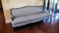 Grey faux leather french regancy provincial sofa by metrosofa, $2659.00