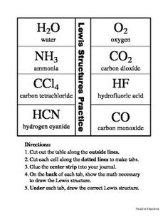 This activity is an easy way to get students to practice some of the common Lewis structures that we see in chemistry, including water,… Chemistry Classroom, High School Chemistry, Teaching Chemistry, Science Chemistry, Middle School Science, Physical Science, Science Education, Stem School, Earth Science Lessons