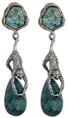 Alexis Bittar Mauritius Gold & Antique Rhodium Hanging Spider Monkey Clip Earrings. Via Charm & Chain.