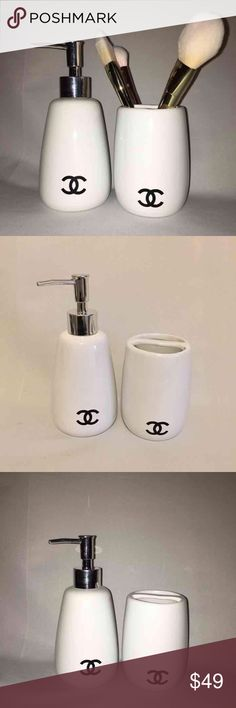 Chanel vanity set cc Chanel vanity set  . Includes pump dispenser & cup  This listing is for 2 as pictured. Quality heavy porcelain , handmade , No brushes included , 2 holders only . CHANEL Makeup Brushes & Tools
