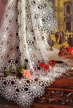 Crochet Patterns: Crochet Lace Tablecloth Pattern - Delicate ♥️LCM-MRS♥️ with diagram. Filet Crochet, Crochet Motifs, Crochet Squares, Thread Crochet, Crochet Doilies, Crochet Patterns, Crochet Snowflakes, Crochet Tablecloth Pattern, Crochet Bedspread