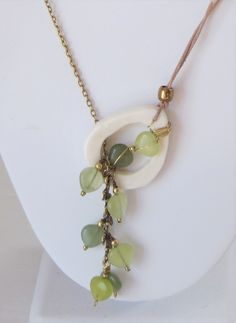 Spring Leaves Olive Jade, White Bone, Brass and Leather Lariat Necklace by TakeCourageDesigns on Etsy