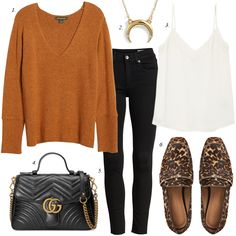 Fall Outfit: Rust Sweater, Black Jeans, Leopard Shoes something navy rust sweater fall outfit Leopard Shoes Outfit, Leopard Loafers, Loafers Outfit, Sweaters And Jeans, Black Sweaters, Der Leopard, White Lace Cami, Autumn Fashion Casual, Casual Fall