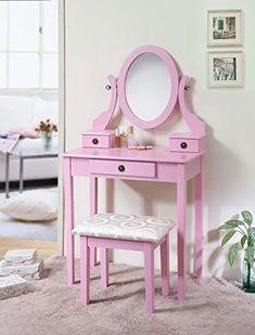 Pink Wood Makeup Vanity Table and Stool Set Kids Makeup Vanity, Makeup Table Vanity, Vanity Tables, Makeup Vanities, Bathroom Vanities, Dressing Table With Chair, Dressing Table Vanity, Pink Vanity, Vanity Set With Mirror