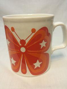 Vintage Staffordshire Potteries Butterfly Coffee Mug 70 s Retro Orange England