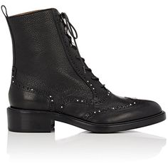 Sartore Women's Stud-Embellished Wingtip Boots (5,065 CNY) ❤ liked on Polyvore featuring shoes, boots, ankle booties, ankle boots, black, black studded boots, black ankle boots, black ankle booties and black lace up ankle booties