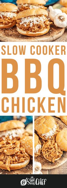 Slow cooker BBQ Chicken is made with a quick homemade sauce and can be enjoyed whole or shredded for a delicious BBQ chicken sandwich. It takes less than 10 minutes to get this into the slow cooker so you can set it and forget it! Crockpot Dump Recipes, Barbecue Recipes, Slow Cooker Recipes, Chicken Recipes, Cooking Recipes, Chicken Meals, Bbq Chicken Sandwich, Slow Cooker Bbq, Dump Meals