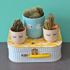 cache-pot Visage bleu design Bloomingville