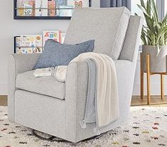 Shop Pottery Barn Kids for stylish nursery chairs and ottomans. Browse our collection of recliners, gliders and rocking chairs in an array of colors and materials. Glider And Ottoman, Glider Chair, Swivel Glider, Playroom Furniture, Baby Bedding Sets, Vintage Nursery, Mortise And Tenon, Gliders, Pottery Barn Kids