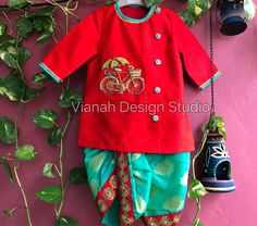 Red raw silk hand embroidered kurta paired with banaras dhoti. Baby Boy Suit, Baby Boy Dress, Baby Boy Outfits, Kids Outfits, Little Girl Dress Patterns, Kids Dress Patterns, Little Girl Dresses, Kids Dress Wear, Kids Wear