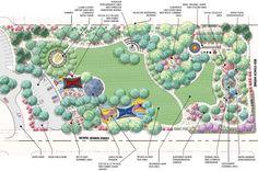 Five acre park design Landscape Architecture Portfolio, Landscape Design Plans, Landscape Sketch, Garden Design Plans, Park Landscape, Urban Architecture, Garden Architecture, Hospital Architecture, Parking Design