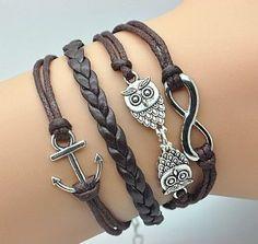 Plating Retro Silver Cute Owl & Infinity Wish Anchor Bracelet Brown Rope Braided Personalized Bracelet Friendship Gift 1189r Retro Bracelet. $15.90