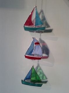 Stained glass boat suncatcher