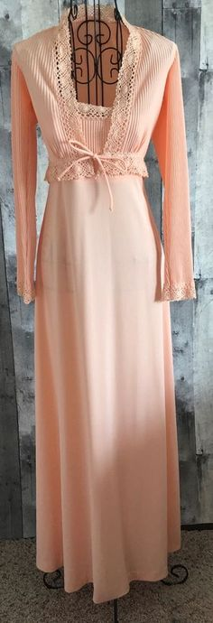 VTG 1960s 2 Piece Maxi Dress Gown Jacket Cardigan Crochet Accordion Pleat 5/6 #Unbranded #Maxi
