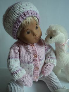 Sugar-Plum Outfit; Hand-knitted for Baby Sasha Doll