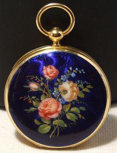RARE ENAMEL SOLID 18K GOLD PATEK PHILIPPE & Cie GENEVE POCKET WATCH, ca 1853