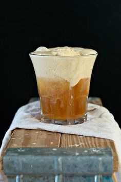 Hard Cider Ale plus Talenti Pumpkin Pie Gelato equals a boozy float beverage perfect for fall sipping.