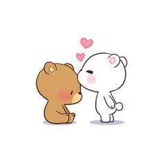 ●●● Bear Couple Emoticons●●● cartoon simple Bear Couple: Milk & Mocha - stickers for lovers by Hiep Nguyen