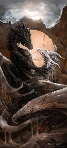 Doubt and Faith by Nightpark on Deviantart / dragons / fantasy creatures / mythical beasts Mythical Creatures Art, Mythological Creatures, Magical Creatures, Fantasy Creatures, Fantasy Kunst, Fantasy Art, Dragon's Lair, Dragon Artwork, Dragon Pictures
