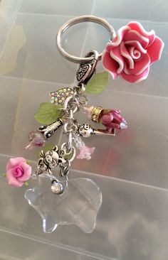 Keychain with a crystal pig pig key pink flowers by InHogHeaven
