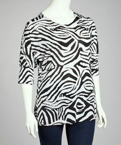 Look at this #zulilyfind! Black White Zebra Scoop Neck Top - Plus by Avital #zulilyfinds
