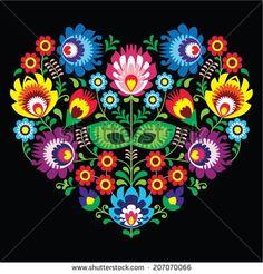 Polish, Slavic folk art art heart with flowers on black - wzory lowickie, wycinanka