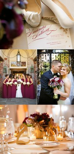 Wine Red & Gold Fall Wedding|Photographer:  Candace Jeffery Photography